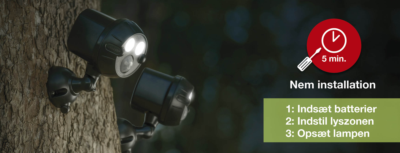 MR BEAMS NETBRIGHT - Sikkerhedslys - Nem installation - Kun 5 minutter - 1: Indsæt batterier - 2: Indstil lyszonen - 3: Opsæt lampen!